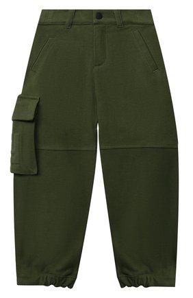 Детские хлопковые брюки-карго FENDI зеленого цвета, арт. JMF331/A7LV/8A-12+ | Фото 1 (Материал внешний: Хлопок; Мальчики Кросс-КТ: Брюки-одежда)