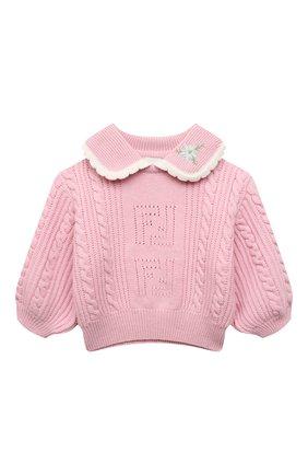 Детский шерстяной свитер FENDI розового цвета, арт. JFG078/AG3S/8A-12+ | Фото 1 (Материал внешний: Шерсть; Девочки Кросс-КТ: Пуловер-одежда; Рукава: Длинные)