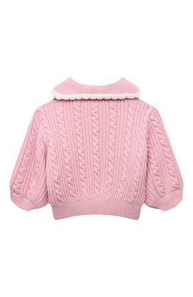 Детский шерстяной свитер FENDI розового цвета, арт. JFG078/AG3S/8A-12+ | Фото 2 (Материал внешний: Шерсть; Девочки Кросс-КТ: Пуловер-одежда; Рукава: Длинные)