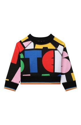 Детский хлопковый свитшот STELLA MCCARTNEY разноцветного цвета, арт. 602645/SRJ20 | Фото 1 (Рукава: Длинные; Материал внешний: Хлопок; Девочки Кросс-КТ: Толстовка-одежда)