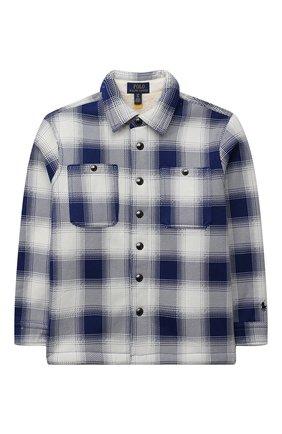 Детская хлопковая рубашка POLO RALPH LAUREN синего цвета, арт. 323853892 | Фото 1 (Рукава: Длинные; Материал внешний: Хлопок; Случай: Повседневный)