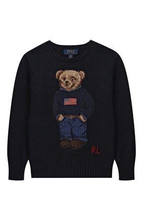 Детский хлопковый пуловер POLO RALPH LAUREN синего цвета, арт. 323668286 | Фото 1 (Рукава: Длинные; Материал внешний: Хлопок; Мальчики Кросс-КТ: Пуловер-одежда)