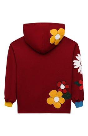 Детский хлопковое худи DOLCE & GABBANA бордового цвета, арт. L5JW4T/G7BHJ/8-14   Фото 2 (Рукава: Длинные; Материал внешний: Хлопок; Девочки Кросс-КТ: Толстовка-одежда)