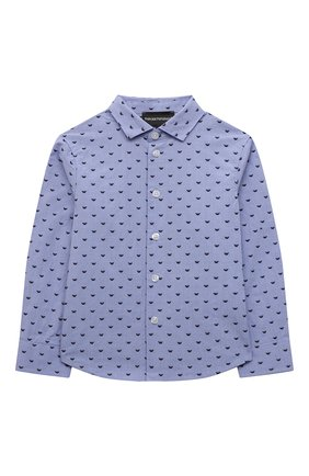 Детская хлопковая рубашка EMPORIO ARMANI голубого цвета, арт. 6K4CD4/1NZRZ | Фото 1 (Рукава: Длинные; Материал внешний: Хлопок; Стили: Классический)