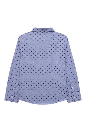 Детская хлопковая рубашка EMPORIO ARMANI голубого цвета, арт. 6K4CD4/1NZRZ | Фото 2 (Рукава: Длинные; Материал внешний: Хлопок; Стили: Классический)