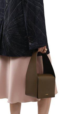 Женская сумка sling JIL SANDER хаки цвета, арт. JSWT852620-WTB69161N | Фото 2 (Материал: Натуральная кожа; Сумки-технические: Сумки top-handle; Размер: mini)