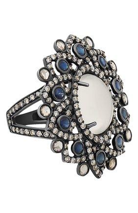 Женские кольцо SUTRA JEWELS бесцветного цвета, арт. SJR123 | Фото 1 (Материал сплава: Белое золото; Драгоценные камни: Бриллианты, Другие, Сапфиры)