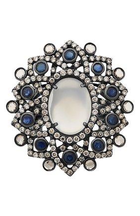 Женские кольцо SUTRA JEWELS бесцветного цвета, арт. SJR123 | Фото 2 (Материал сплава: Белое золото; Драгоценные камни: Бриллианты, Другие, Сапфиры)