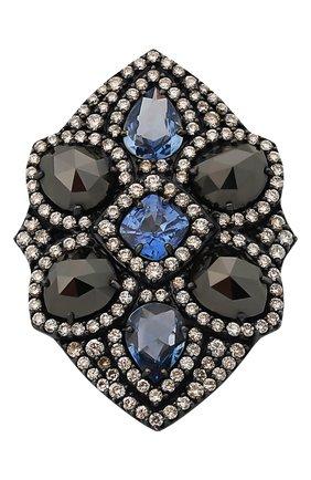 Женские кольцо SUTRA JEWELS бесцветного цвета, арт. SJR248 | Фото 2 (Материал сплава: Белое золото; Драгоценные камни: Бриллианты, Сапфиры)