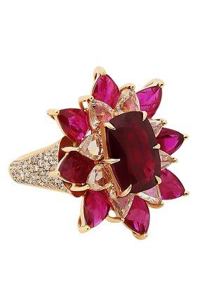 Женские кольцо SUTRA JEWELS бесцветного цвета, арт. SJR425 | Фото 1 (Материал сплава: Розовое золото; Драгоценные камни: Рубины, Бриллианты)