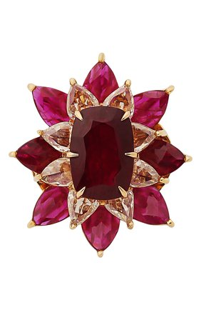 Женские кольцо SUTRA JEWELS бесцветного цвета, арт. SJR425 | Фото 2 (Материал сплава: Розовое золото; Драгоценные камни: Рубины, Бриллианты)