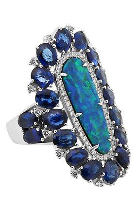 Женские кольцо SUTRA JEWELS бесцветного цвета, арт. SJR1004 | Фото 1 (Материал сплава: Белое золото; Драгоценные камни: Бриллианты, Сапфиры, Другие)