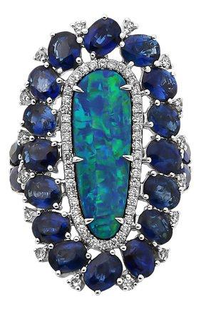 Женские кольцо SUTRA JEWELS бесцветного цвета, арт. SJR1004 | Фото 2 (Материал сплава: Белое золото; Драгоценные камни: Бриллианты, Сапфиры, Другие)