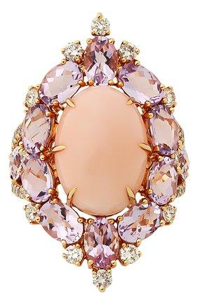 Женские кольцо SUTRA JEWELS бесцветного цвета, арт. SJR1011 | Фото 2 (Материал сплава: Розовое золото; Драгоценные камни: Другие, Бриллианты)