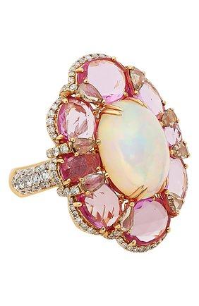 Женские кольцо SUTRA JEWELS бесцветного цвета, арт. SJR1191 | Фото 1 (Материал сплава: Розовое золото; Драгоценные камни: Бриллианты, Другие, Сапфиры)