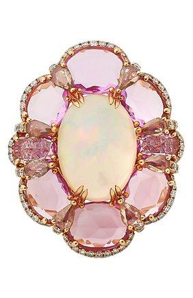 Женские кольцо SUTRA JEWELS бесцветного цвета, арт. SJR1191 | Фото 2 (Материал сплава: Розовое золото; Драгоценные камни: Бриллианты, Другие, Сапфиры)