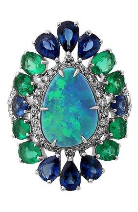 Женские кольцо SUTRA JEWELS бесцветного цвета, арт. SJR1282 | Фото 2 (Материал сплава: Белое золото; Драгоценные камни: Бриллианты, Сапфиры, Изумруды, Другие)