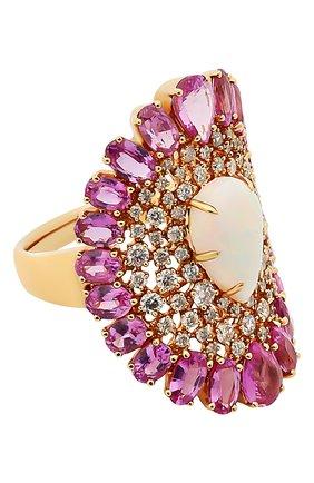 Женские кольцо SUTRA JEWELS бесцветного цвета, арт. SJR1324 | Фото 1 (Материал сплава: Розовое золото; Драгоценные камни: Сапфиры, Бриллианты, Другие)