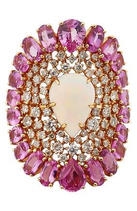 Женские кольцо SUTRA JEWELS бесцветного цвета, арт. SJR1324 | Фото 2 (Материал сплава: Розовое золото; Драгоценные камни: Сапфиры, Бриллианты, Другие)