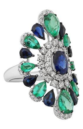 Женские кольцо SUTRA JEWELS бесцветного цвета, арт. SJR1342 | Фото 1 (Материал сплава: Белое золото; Драгоценные камни: Сапфиры, Изумруды, Бриллианты)