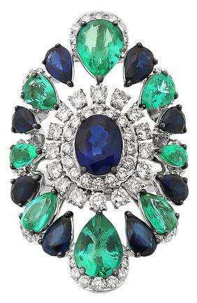 Женские кольцо SUTRA JEWELS бесцветного цвета, арт. SJR1342 | Фото 2 (Материал сплава: Белое золото; Драгоценные камни: Сапфиры, Изумруды, Бриллианты)