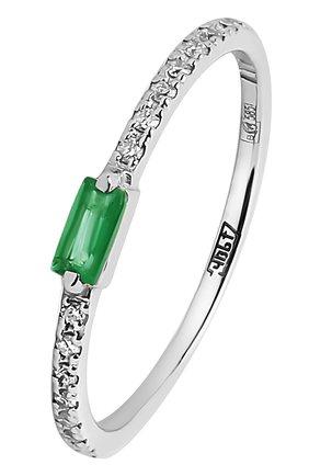 Женское золотое кольцо с изумрудом и паве из бриллиантов MOONKA серебряного цвета, арт. ncg-sr-emr   Фото 1 (Материал: Золото)