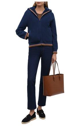 Женский кардиган с меховой подкладкой LORO PIANA бирюзового цвета, арт. FAL7051 | Фото 2 (Длина (для топов): Стандартные; Рукава: Длинные; Материал утеплителя: Шерсть; Женское Кросс-КТ: Кардиган-одежда; Стили: Кэжуэл)