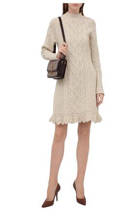 Женское шерстяное платье POLO RALPH LAUREN кремвого цвета, арт. 211827361 | Фото 2 (Рукава: Длинные; Длина Ж (юбки, платья, шорты): Мини; Материал внешний: Шерсть; Женское Кросс-КТ: Платье-одежда; Кросс-КТ: Трикотаж; Стили: Бохо; Случай: Повседневный)
