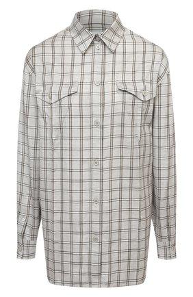 Женская рубашка из шерсти и шелка BURBERRY светло-серого цвета, арт. 8044808 | Фото 1 (Рукава: Длинные; Материал внешний: Шелк, Шерсть; Длина (для топов): Удлиненные; Женское Кросс-КТ: Рубашка-одежда; Принт: С принтом, Клетка; Стили: Кэжуэл)