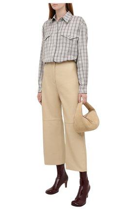 Женская рубашка из шерсти и шелка BURBERRY светло-серого цвета, арт. 8044808 | Фото 2 (Рукава: Длинные; Материал внешний: Шелк, Шерсть; Длина (для топов): Удлиненные; Женское Кросс-КТ: Рубашка-одежда; Принт: С принтом, Клетка; Стили: Кэжуэл)