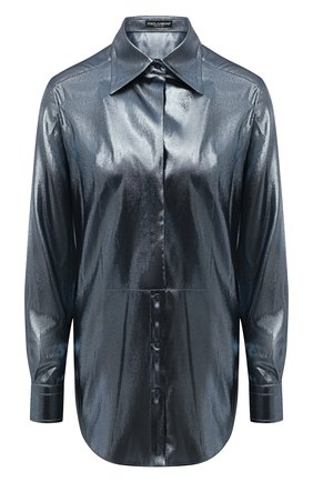 Женская рубашка DOLCE & GABBANA серебряного цвета, арт. F5P07T/FJM9U | Фото 1 (Длина (для топов): Удлиненные; Рукава: Длинные; Материал внешний: Синтетический материал, Шелк; Женское Кросс-КТ: Рубашка-одежда; Принт: Без принта; Стили: Романтичный)