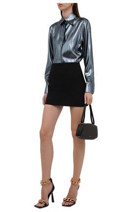 Женская рубашка DOLCE & GABBANA серебряного цвета, арт. F5P07T/FJM9U | Фото 2 (Длина (для топов): Удлиненные; Рукава: Длинные; Материал внешний: Синтетический материал, Шелк; Женское Кросс-КТ: Рубашка-одежда; Принт: Без принта; Стили: Романтичный)