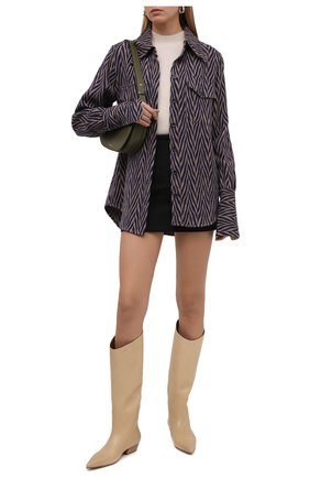Женские кожаные сапоги puntello MARSELL светло-бежевого цвета, арт. MW6611/PELLE VITELL0   Фото 2 (Материал внутренний: Натуральная кожа; Подошва: Плоская; Высота голенища: Средние; Каблук высота: Низкий; Каблук тип: Устойчивый)
