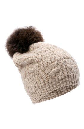 Женская кашемировая шапка LORO PIANA бежевого цвета, арт. FAM0243   Фото 1 (Материал: Кашемир, Шерсть)