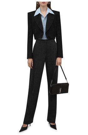 Женские брюки из шерсти и кашемира GIORGIO ARMANI серого цвета, арт. 1WHPP0IR/T016Z | Фото 2 (Материал внешний: Шерсть; Длина (брюки, джинсы): Удлиненные; Женское Кросс-КТ: Брюки-одежда; Стили: Кэжуэл; Силуэт Ж (брюки и джинсы): Широкие)