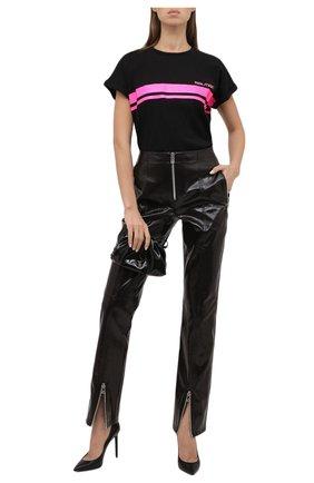 Женская хлопковая футболка balmain x rossignol BALMAIN черного цвета, арт. WF2EF010/B099   Фото 2 (Длина (для топов): Стандартные; Рукава: Короткие; Материал внешний: Хлопок; Женское Кросс-КТ: Футболка-одежда; Принт: С принтом; Стили: Спорт-шик)