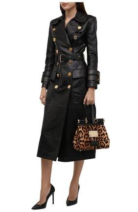 Женский кожаный плащ BALMAIN черного цвета, арт. WF1TL010/L158   Фото 2 (Рукава: Длинные; Длина (верхняя одежда): Длинные; Материал подклада: Вискоза; Стили: Гранж; Женское Кросс-КТ: Замша и кожа)