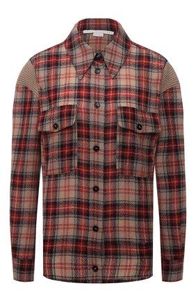 Женская шерстяная рубашка STELLA MCCARTNEY разноцветного цвета, арт. 603931/SSA50 | Фото 1 (Длина (для топов): Стандартные; Материал внешний: Шерсть; Рукава: Длинные; Женское Кросс-КТ: Рубашка-одежда; Принт: С принтом, Клетка; Стили: Гранж)