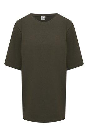 Женская хлопковая футболка TOTÊME хаки цвета, арт. 214-472-770 | Фото 1 (Длина (для топов): Стандартные; Рукава: Короткие; Материал внешний: Хлопок; Женское Кросс-КТ: Футболка-одежда; Принт: Без принта; Стили: Спорт-шик)