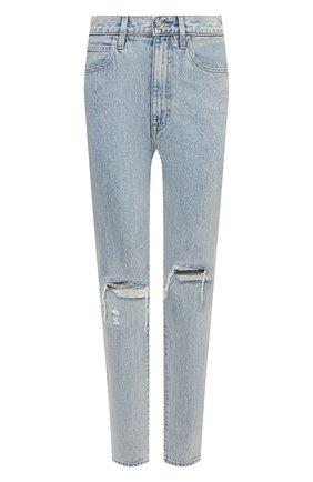 Женские джинсы SLVRLAKE голубого цвета, арт. PF21/BTNJ707S/TMWN | Фото 1 (Материал внешний: Хлопок; Длина (брюки, джинсы): Стандартные; Кросс-КТ: Деним; Детали: Потертости; Стили: Гранж; Силуэт Ж (брюки и джинсы): Прямые)