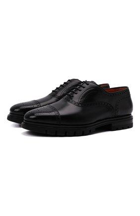 Мужские кожаные оксфорды SANTONI черного цвета, арт. MCCG17916SM5EVRTN01 | Фото 1 (Материал внутренний: Натуральная кожа; Мужское Кросс-КТ: Броги-обувь; Стили: Классический)