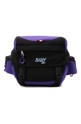 Мужская текстильная поясная сумка bally hike BALLY фиолетового цвета, арт. BHU004/17   Фото 1 (Материал: Текстиль; Ремень/цепочка: На ремешке; Размер: medium)