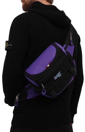 Мужская текстильная поясная сумка bally hike BALLY фиолетового цвета, арт. BHU004/17   Фото 2 (Материал: Текстиль; Ремень/цепочка: На ремешке; Размер: medium)