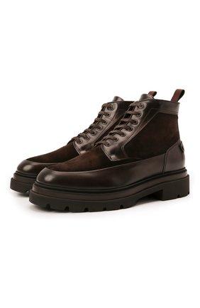 Мужские комбинированные ботинки SANTONI темно-коричневого цвета, арт. MGMG17927JK4ASDXT50 | Фото 1 (Каблук высота: Высокий; Материал внутренний: Натуральная кожа; Подошва: Массивная; Материал утеплителя: Натуральный мех; Мужское Кросс-КТ: зимние ботинки, Ботинки-обувь)
