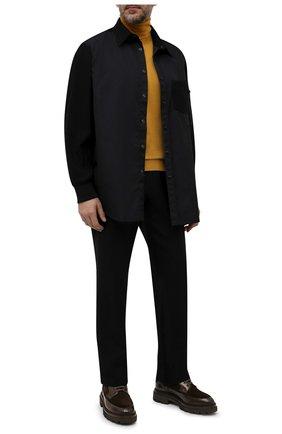 Мужские комбинированные ботинки SANTONI темно-коричневого цвета, арт. MGMG17927JK4ASDXT50 | Фото 2 (Каблук высота: Высокий; Материал внутренний: Натуральная кожа; Подошва: Массивная; Материал утеплителя: Натуральный мех; Мужское Кросс-КТ: зимние ботинки, Ботинки-обувь)