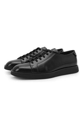Мужские кожаные кеды SANTONI черного цвета, арт. MSAM21617NEARPWCN01 | Фото 1 (Материал внутренний: Натуральная кожа; Подошва: Плоская)