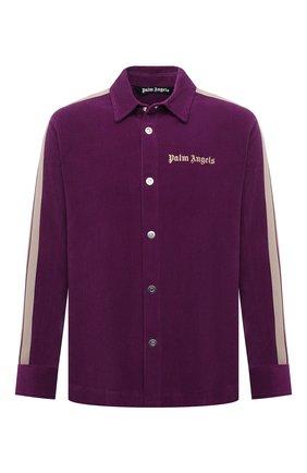 Мужская хлопковая рубашка PALM ANGELS фиолетового цвета, арт. PMGA104F21FAB0043718   Фото 1 (Материал внешний: Хлопок; Рукава: Длинные; Длина (для топов): Стандартные; Случай: Повседневный; Манжеты: На пуговицах; Воротник: Кент; Принт: С принтом; Стили: Спорт-шик)