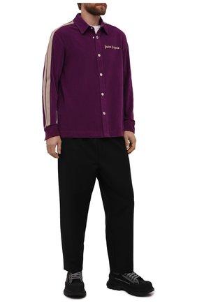 Мужская хлопковая рубашка PALM ANGELS фиолетового цвета, арт. PMGA104F21FAB0043718   Фото 2 (Материал внешний: Хлопок; Рукава: Длинные; Длина (для топов): Стандартные; Случай: Повседневный; Манжеты: На пуговицах; Воротник: Кент; Принт: С принтом; Стили: Спорт-шик)