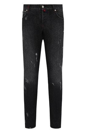 Мужские джинсы KITON темно-серого цвета, арт. UPNJS/J0357A   Фото 1 (Длина (брюки, джинсы): Стандартные; Материал внешний: Хлопок; Силуэт М (брюки): Прямые; Детали: Потертости; Кросс-КТ: Деним; Стили: Кэжуэл)