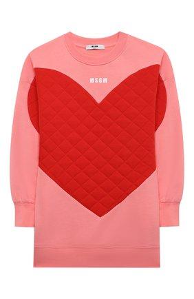Детское хлопковое платье MSGM KIDS розового цвета, арт. MS028715 | Фото 1 (Материал внешний: Хлопок; Рукава: Длинные)